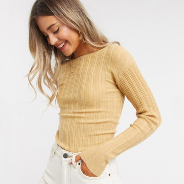 Women's Crew Necked Ribbed Sweater in Camel